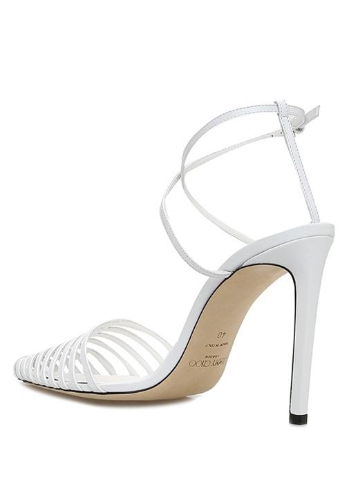 Tamai 100 Beyaz İnce Bantlı Deri Sandalet