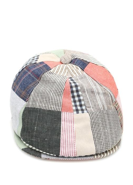Colorblocked Patchworklu Erkek Keten Şapka