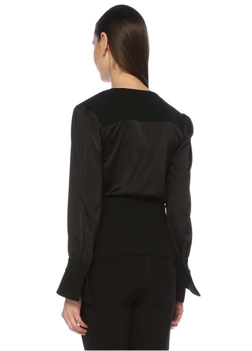 Siyah Derin V Yaka Büzgülü Saten Bluz