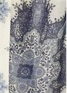 Beyaz Mavi Karışık Şal Desenli Erkek Keten Atkı