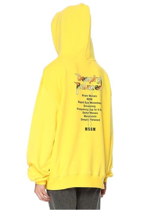 Sarı Kapüşonlu Baskılı Oversize Sweatshirt