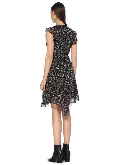 Caris Sketch Siyah V Yaka Çiçekli Midi Elbise