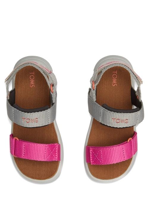 Pembe Gri Logolu Unisex Çocuk Sandalet