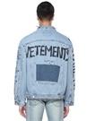Mavi Yazı Baskılı Yakası Troklu Denim Ceket