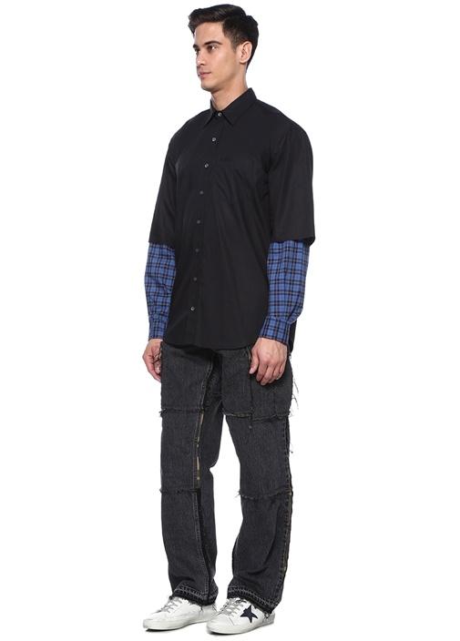 Siyah Mavi İngiliz Yaka Kolu Ekose Desenli Gömlek
