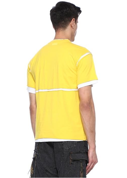 Sarı Beyaz Bisiklet Yaka Garnili Yıpratmalı Tshirt