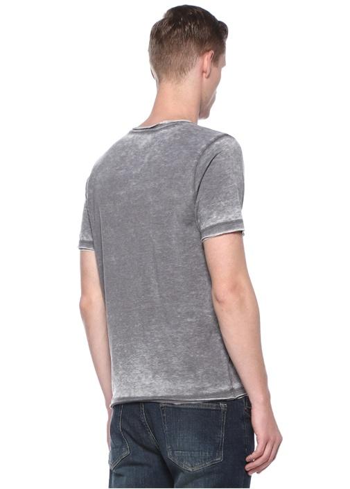 Gri Melan Bisiklet Yaka Basic T-shirt
