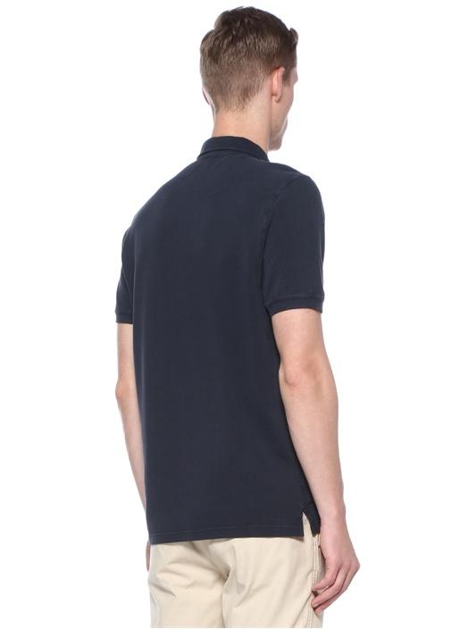 Lacivert Polo Yaka Dokulu T-shirt