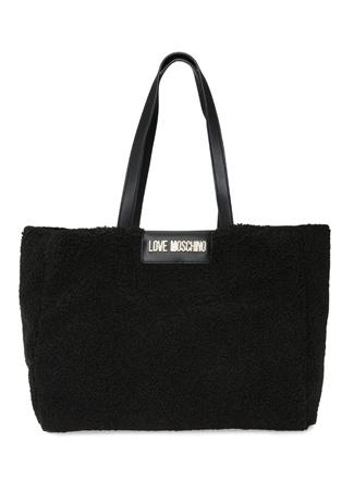 Love Moschino Kadın Siyah Logolu Shearling Alışveriş Çantası EU