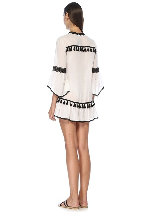 Beyaz Siyah Püsküllü Dantel Şeritli Tunik
