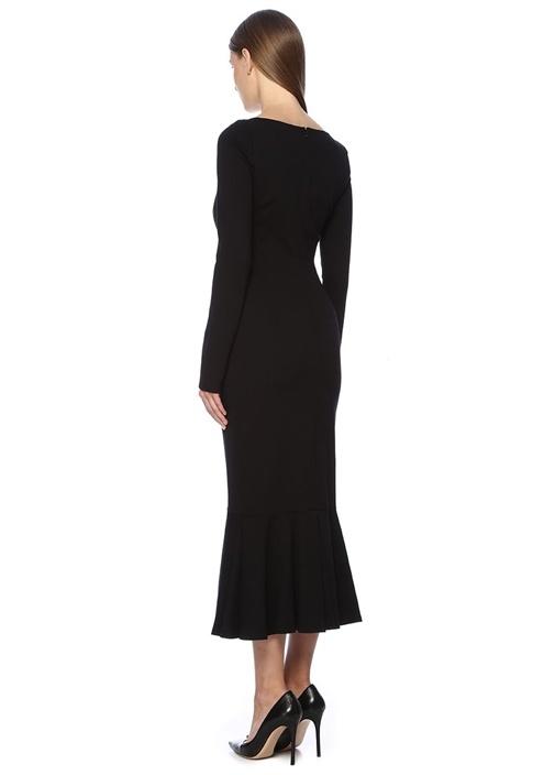Siyah Kalp Yaka Uzun Kol Volanlı Midi Elbise