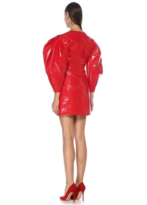 Kırmızı V Yaka Balon Kol Mini Suni DeriElbise
