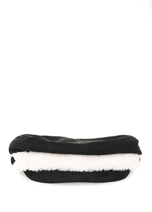 Siyah Beyaz Peluş Detaylı Kadın Kasket Şapka