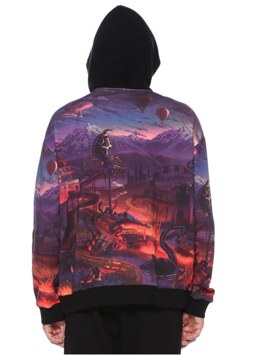 Fantasy Mor Manzara Baskılı Cepli Sweatshirt