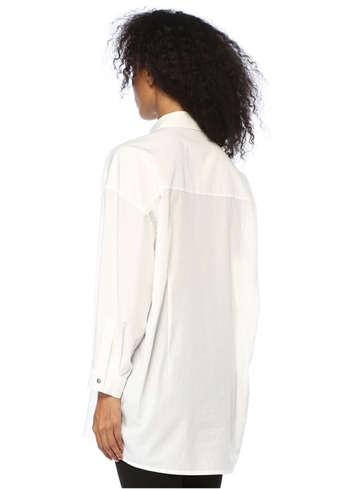 Beyaz Bol Kesim Gömlek