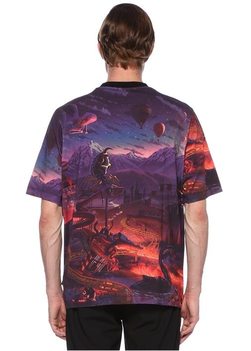 Fantasy Mor Baskılı Basic T-shirt