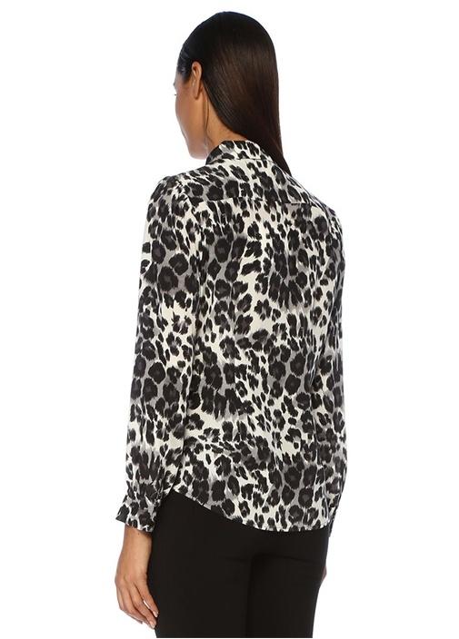 Mariah Siyah Beyaz Leopar Desenli İpek Gömlek