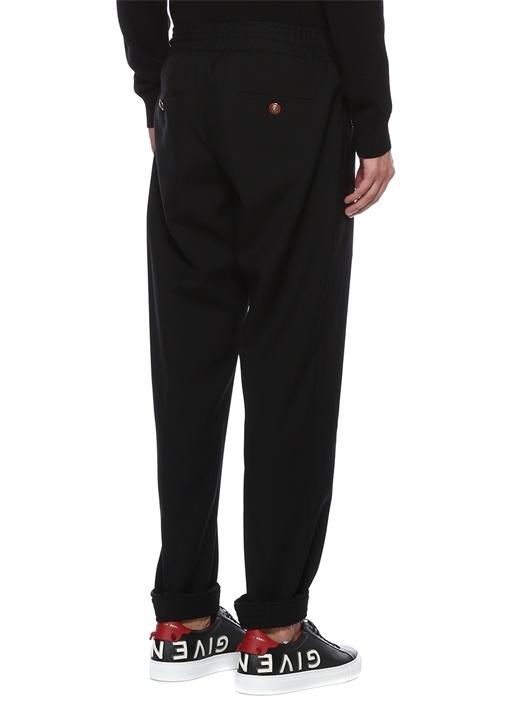 Siyah Beli Kordonlu Dar Paça Yün Pantolon