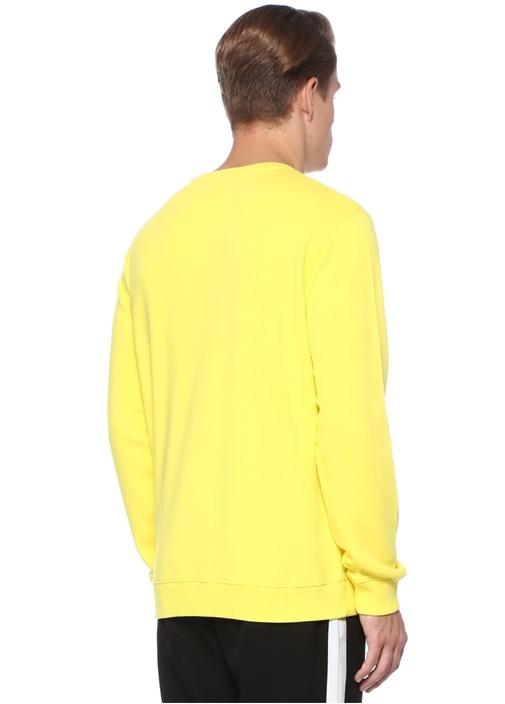 Sarı Logo Baskılı Bisiklet Yaka Sweatshirt