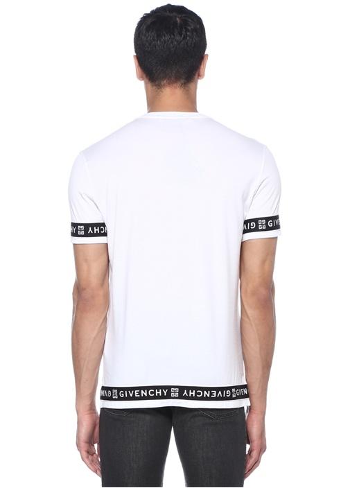 Beyaz Bisiklet Yaka Şerit Logolu Basic T-shirt