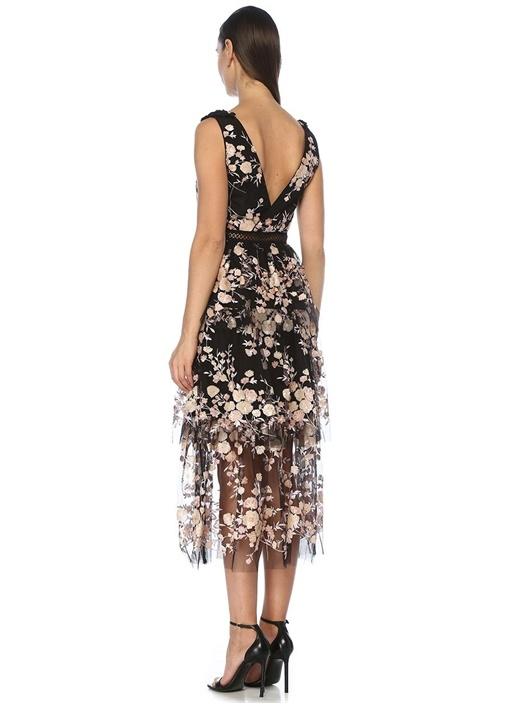 Siyah V Yaka Çiçek İşlemeli Volanlı Midi Elbise