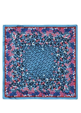 Fendi Kadın Mavi Çiçek Baskılı Logolu İpek Şal EU