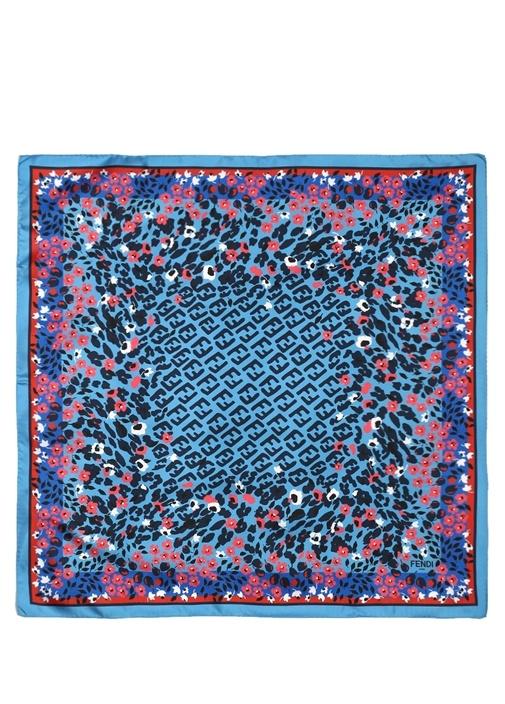 Mavi Çiçek Baskılı Logolu Kadın İpek Şal
