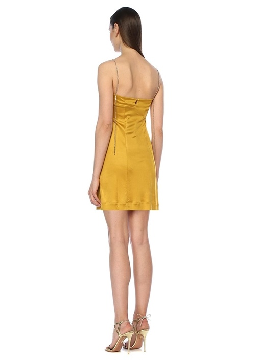 Kate Sarı V Yaka Taş Askılı Mini Elbise