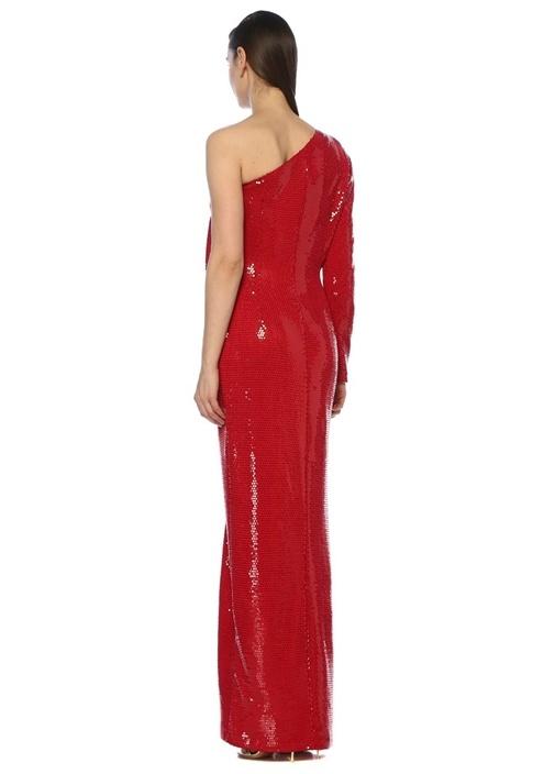 Kırmızı Tek Kollu Payetli Maxi Elbise