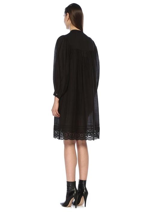 Rolga Siyah Dantel Garnili Midi Gömlek Elbise