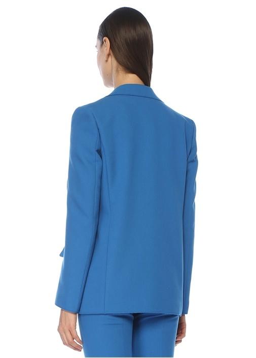 Regular Fit Mavi Tek Düğmeli Krep Blazer Ceket
