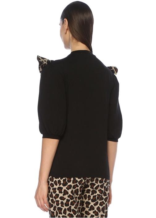 Siyah Leopar Desenli Fırfırlı Balon KolSweatshirt