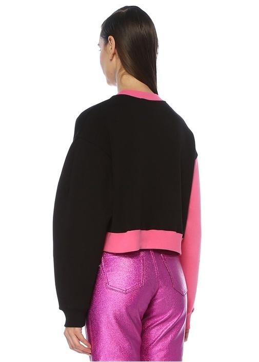 Oversize Pembe Siyah Logo Baskılı Crop Sweatshirt