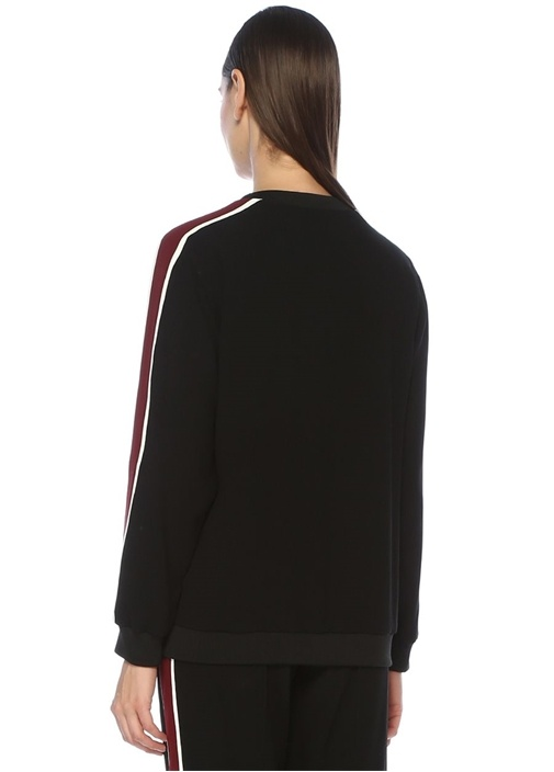Siyah Bordo Şeritli Kaplan Nakışlı Sweatshirt