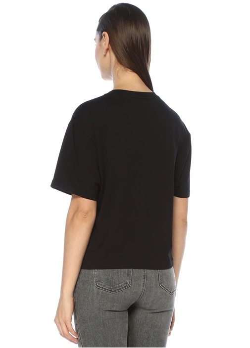 Boxy Fit Siyah Simli Logolu T-shirt