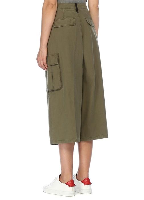 Cargo Culotte Haki Oversize Crop Pantolon