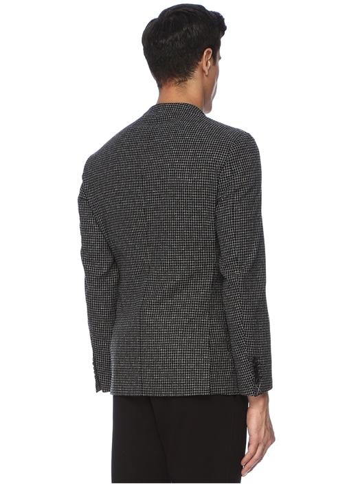 Tailored Slim Fit Siyah Kare Dokulu YünCeket