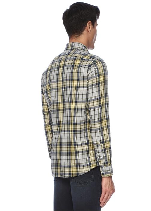 Regular Fit Sarı Gri Ekose Desenli Gömlek