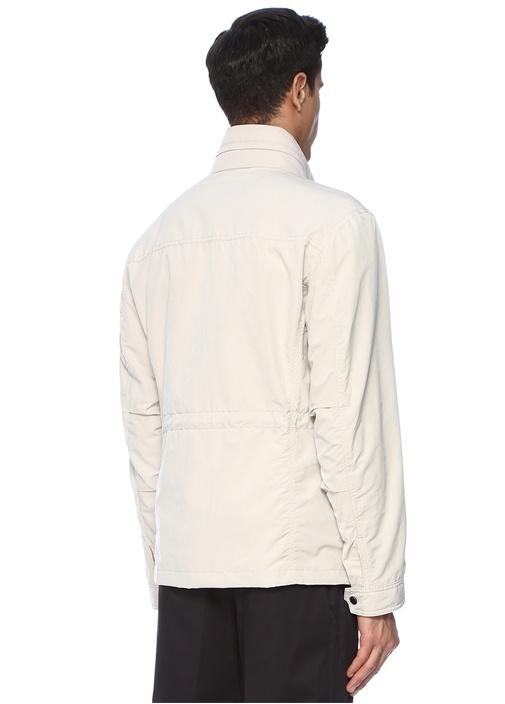 Regular Fit Beyaz Kapüşonlu Dış Ceket