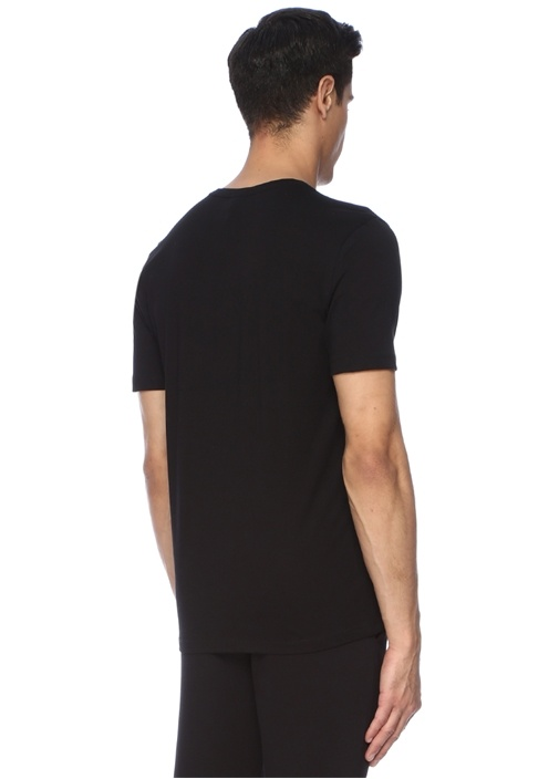 Regular Fit Siyah Baskılı Basic T-shirt
