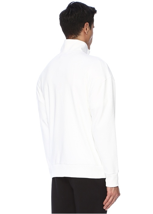Beyaz Yakası Fermuarlı Kontrast Logolu Sweatshirt