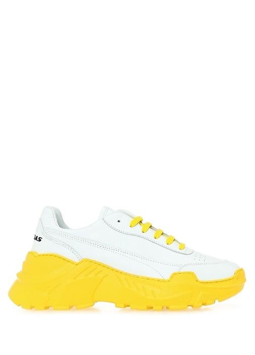 Zenith Beyaz Sarı Kadın Deri Sneaker
