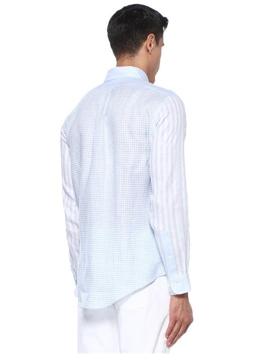 Mavi Beyaz Düğmeli Yaka Desenli Keten Gömlek