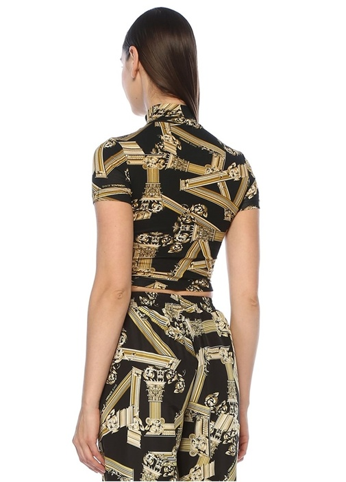 Siyah Gold Dik Yaka Desenli Kısa Kol Crop Bluz