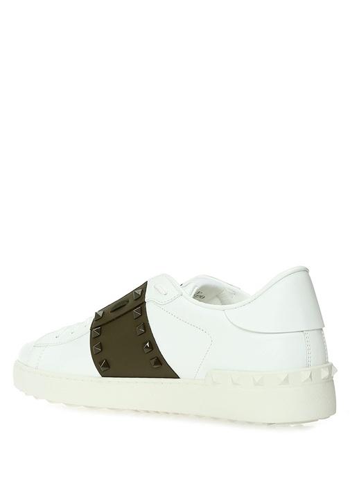 Rockstud Beyaz Haki Erkek Deri Sneaker