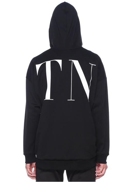 Siyah Beyaz Kapüşonlu Logolu Sweatshirt