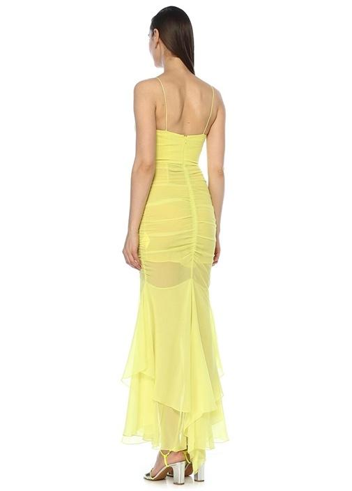 Sarı İnce Askılı Drapeli Maksi İpek Abiye Elbise