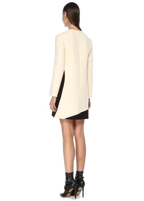 Siyah Beyaz Ay Jakarlı Uzun Kol Mini Krep Elbise