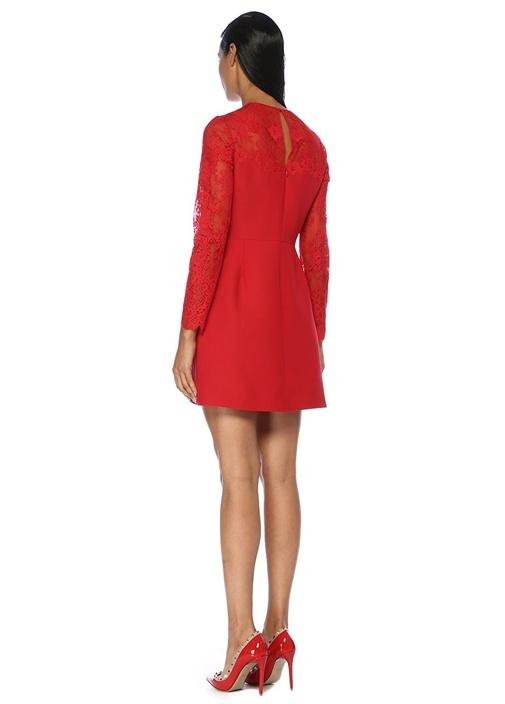 Kırmızı Dantel Garnili Uzun Kol Mini Yün Elbise