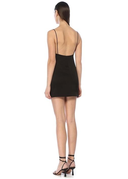 Blaze Siyah İnce Askılı Mini Kokteyl Elbise